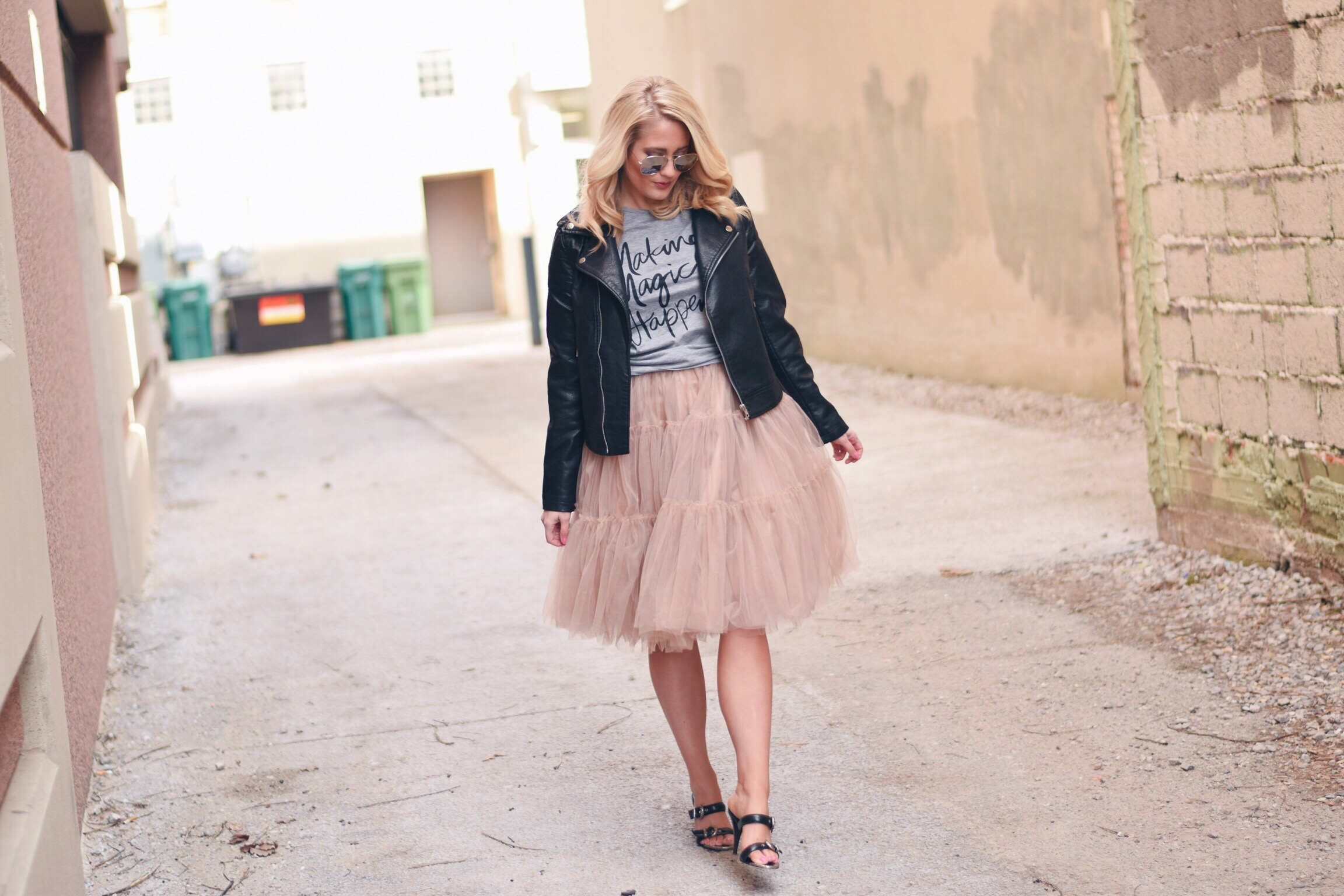 LEATHER + TULLE