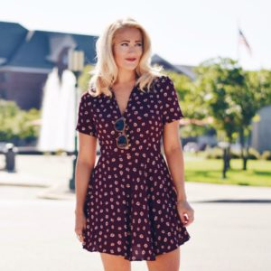 BURGUNDY PRINTED SKATER DRESS