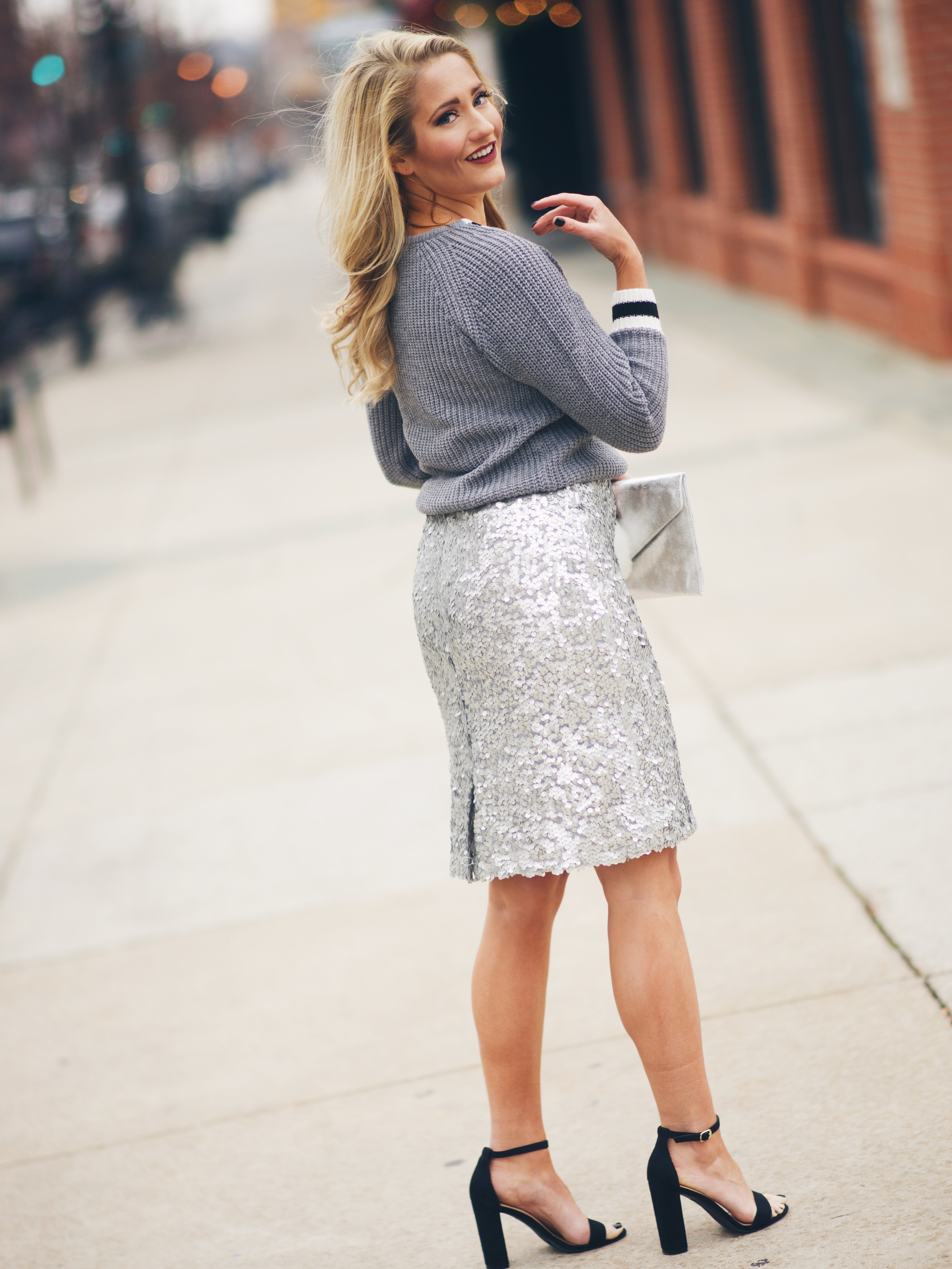 VARSITY SWEATER + SEQUIN SKIRT