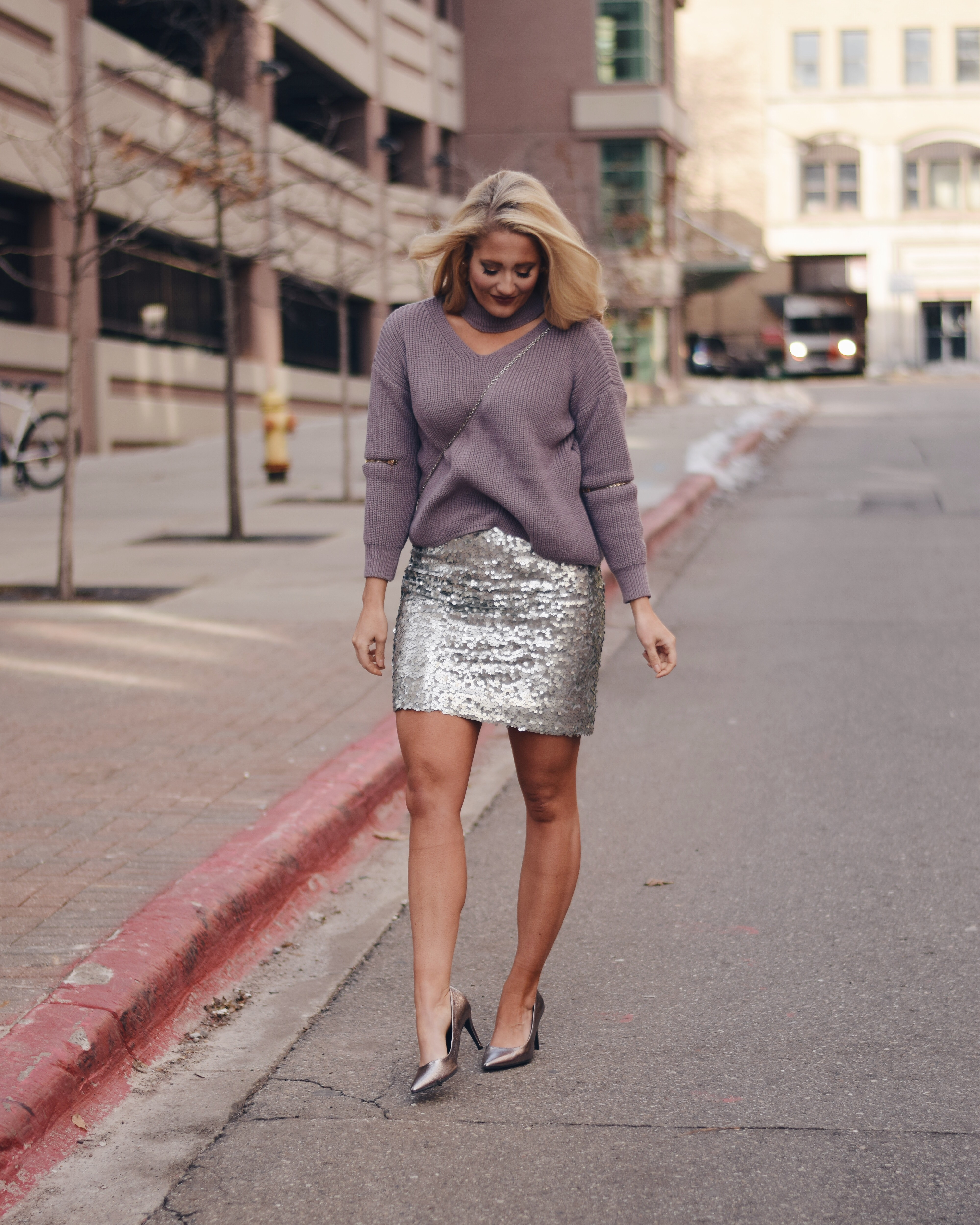 CHOKER NECK SWEATER + SEQUIN SKIRT