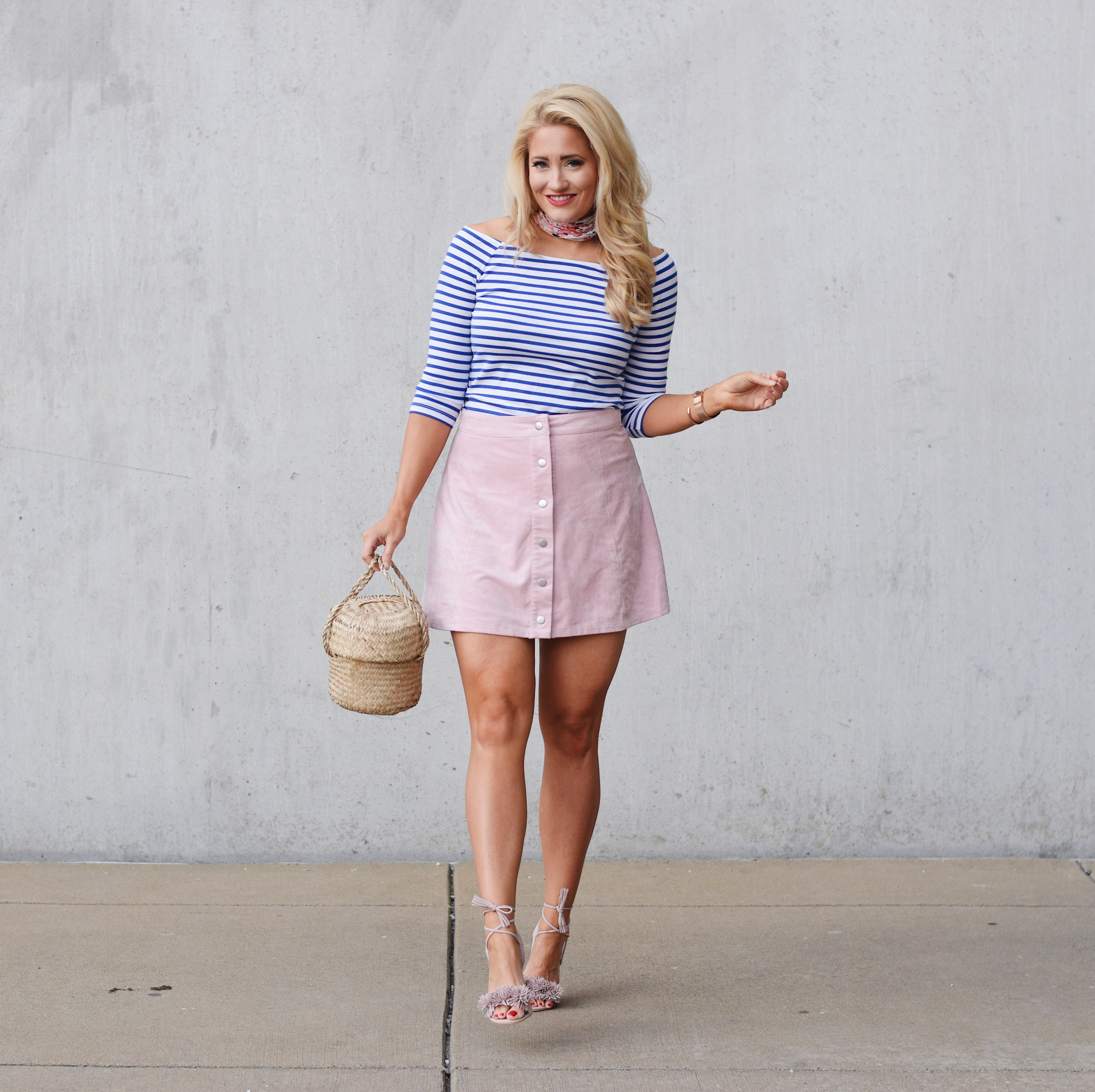 BLUSH SUEDE + BLUE STRIPES