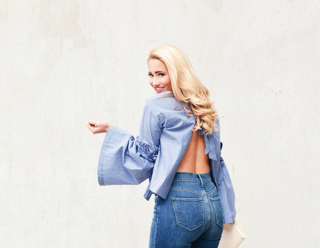 BACKLESS BELL SLEEVE BLOUSE