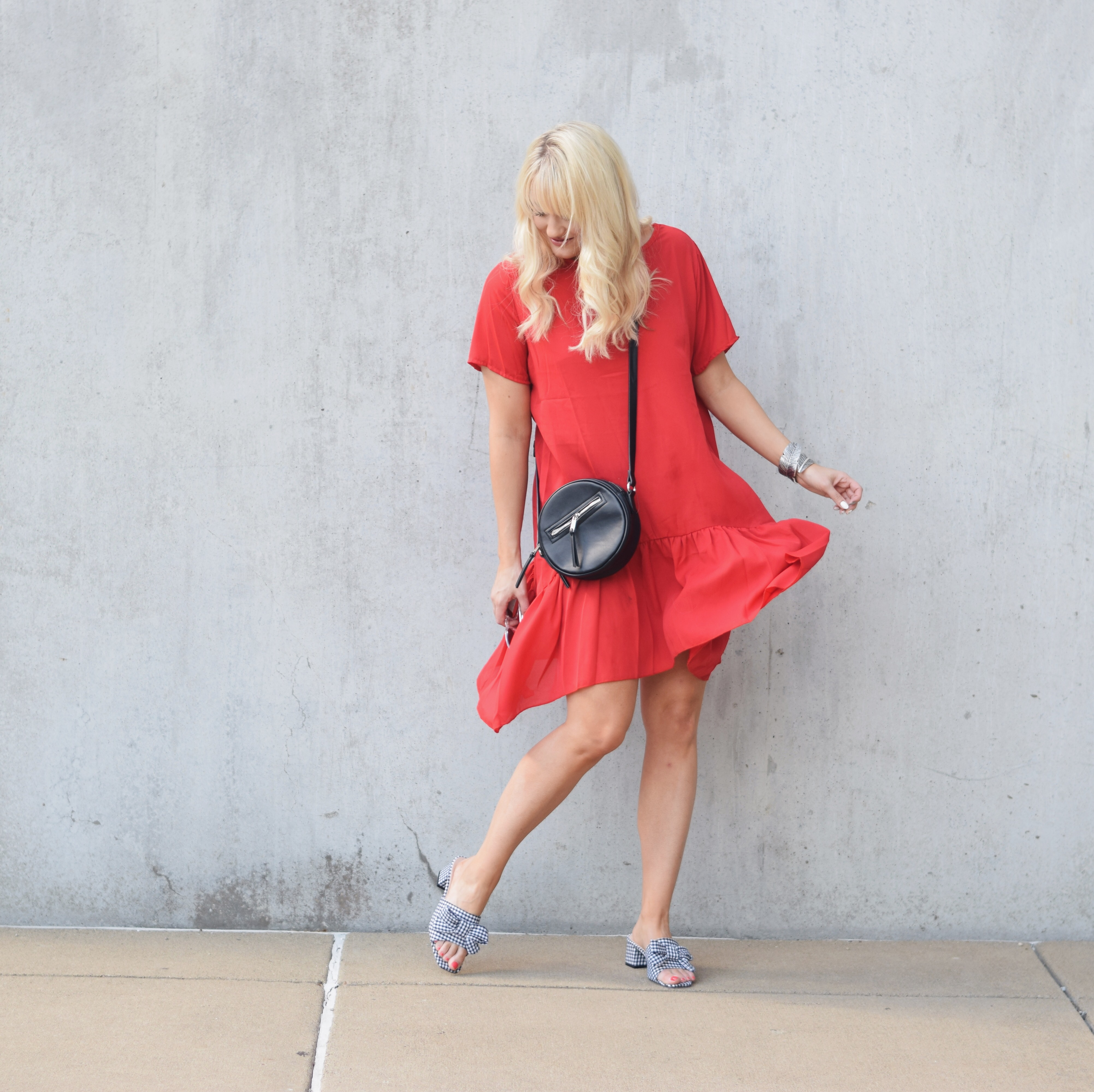 RED RUFFLED HEM DRESS