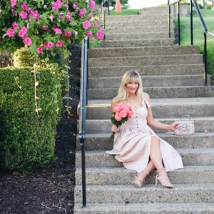 BOW SHOULDER BLUSH DRESS