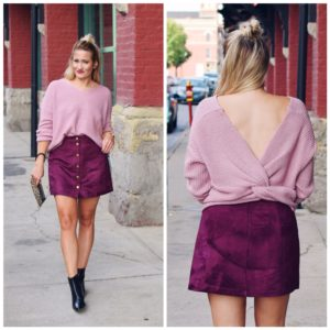 TWIST BACK SWEATER + WINE MINI